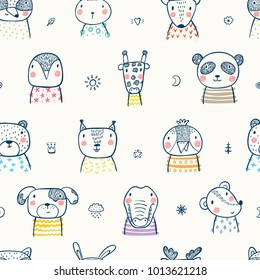 Cute Scandinavian Style Animal Faces Seamless pattern. Hand drawn Doodle Cartoon Animals and Birds. Vector Background for Kids