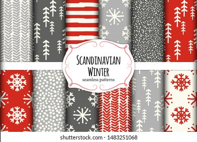 Cute Scandinavian Winter hand drawn seamless patterns set for your decoration, vector illustration