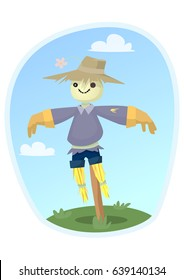 Cute scarecrow was set up in the field. Vector illustration.