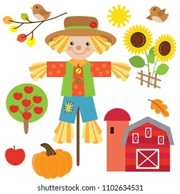 Cute scarecrow vector cartoon illustration