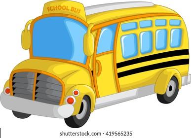 cute school bus cartoon