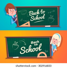 Cute School Children. School activities. Back to School isolated objects on blue and yellow background. Great illustration for a school books and more. VECTOR.