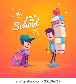 Cute School Children. School activities. Back to School isolated objects on yellow background. Great illustration for a school books and more. VECTOR.
