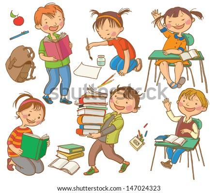 Cute School Children School Activities Back Stock Vector Royalty