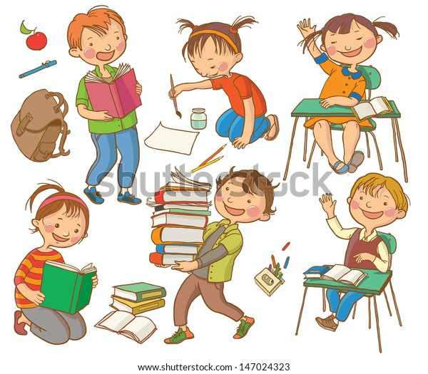 Cute School Children School Activities Back Stock Vector
