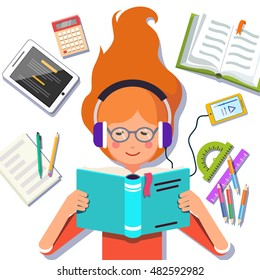 Cute school or collage student girl lying down and reading a book while listening to a music with her headphones and smartphone. Flat style vector illustration isolated on white background.