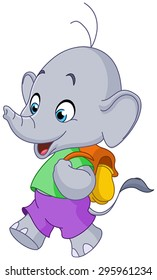 Cute school elephant walking with a backpack