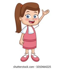 Cute school girl cartoon