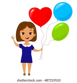 Cute school girl with colorful balloons. Cartoon stylized vector illustration.