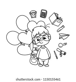 Cute school kid ready to education. Design element for print, t-shirt, poster, card, banner. Vector illustration. Coloring page