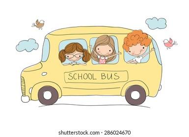 Cute school kids riding a school bus