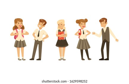 Cute School Students in Uniform with Backpacks Collection, Happy Schoolboys and Schoolgirls Cartoon Characters Vector Illustration