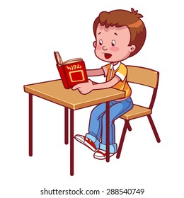 Cute schoolboy behind a school desk reading a book. Vector illustration on a white background.