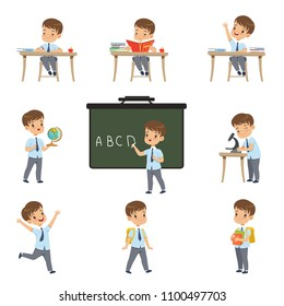 Cute schoolboy student in uniform in various activities set, boy at lessons of biology, geography, mathematics vector Illustrations on a white background