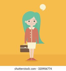 Cute schoolgirl with briefcase. Flat design.