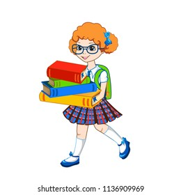 Cute schoolgirl with color books. Vector illustration on white background