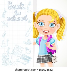 Cute schoolgirl hold big banner back to school for your text
