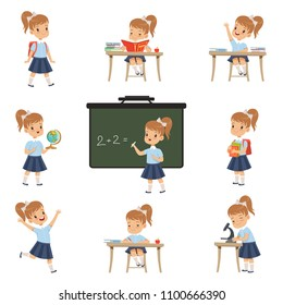 Cute schoolgirl student in uniform in various activities set, girl at lessons of biology, geography, mathematics vector Illustrations on a white background