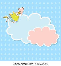 Cute scrap set with bird and clouds