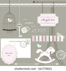 Cute scrapbook design elements set in pastel pink and green colors.