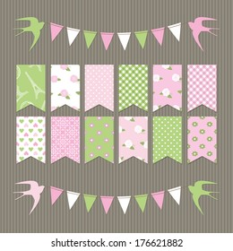 Cute scrapbook design elements set of bunting flags in pastel pink and green colors.