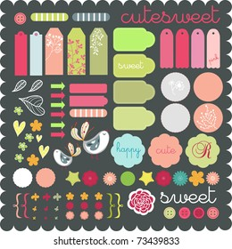 cute scrapbook graphic elements sticker set art to download