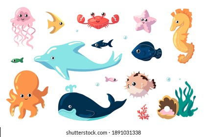 Cute sea animals. Cartoon funny fish swim underwater. Collection of ocean inhabitants. Isolated jellyfish and seahorse, dolphin or whale and octopus. Undersea creatures, vector marine fauna set