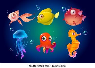 Cute sea animals, fish, octopus, jellyfish. Vector cartoon characters in ocean. Funny underwater creatures seahorse, puffer fish. Tropical aquatic fauna