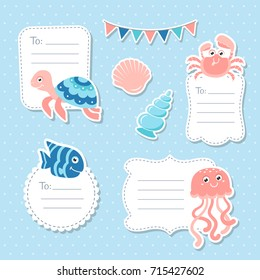 Cute sea animals greeting cards tags and stickers for scrapbooking and birthday designs