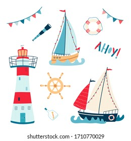 Cute sea collection with sailboat, lighthouse, lifebuoy, telescope, steering wheel isolated on white background. Set of illustrations for the design of children's rooms and textiles. Vector