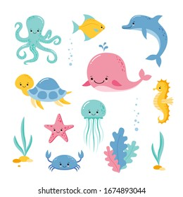 Cute sea creatures and animals vector icons isolated on white background. Kawaii style