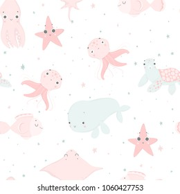 Cute sea creatures, hand drawn illustrations. Seamless pattern perfect for  wrapping paper, fabric, wallpaper background  design. Cute sea creatures design for baby clothes, textile, kid room decor