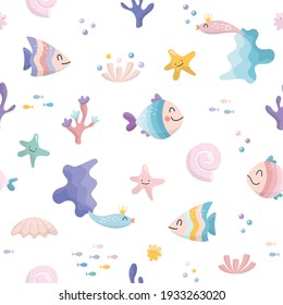 Cute sea fish characters cartoon seamless pattern. Sealife pastel colors background. Textile for kids,  notebook cover, wrapping paper. Vector illustration