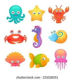 Cute sea life creatures cartoon animals set with fish octopus jellyfish isolated vector illustration