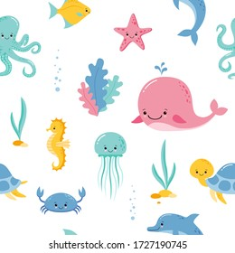 Cute sea and ocean cartoon animals and fishes. Seamless pattern background with underwater funny kawaii characters.