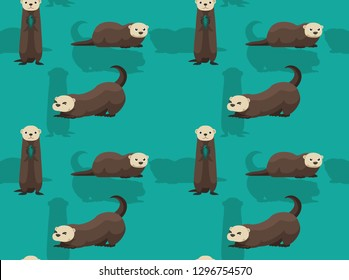 Cute Sea Otter Cartoon Background Seamless Wallpaper