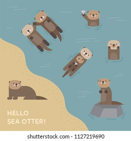 A cute sea otter playing in the water. flat design style vector graphic illustration set
