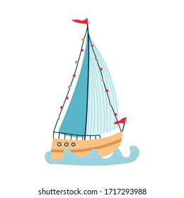 Cute sea sailboat on waves isolated on white background. Illustrations for the design of children's rooms and textiles. Vector