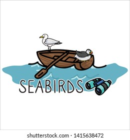 Cute seabirds in boat cartoon vector illustration motif set. Hand drawn isolated seaside wildlife elements clipart for nautical birdwatching blog, sailing graphic, ocean web buttons.