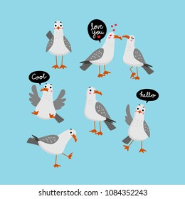 cute seagull character vector