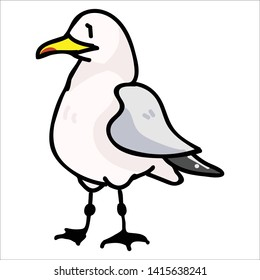 Cute seagull from the front cartoon vector illustration motif set. Hand drawn isolated seaside wildlife elements clipart for nautical birdwatching blog, bird graphic, feather web buttons.