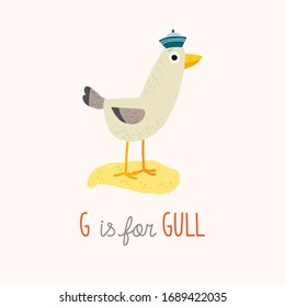 Cute seagull. G is for gull. ABC Kids Wall Art. Alphabet Card. Nursery alphabet poster. Playroom decor. Cartoon hand drawn vector eps 10 illustration isolated on white background in a flat style.