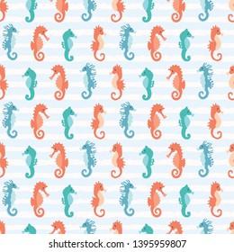 Cute seahorses cartoon illustration pattern. Hand drawn ocean animals seamless vector background. Nautical beach wear, under the sea kids fashion prints. Sealife fun underwater aquarium allover print.