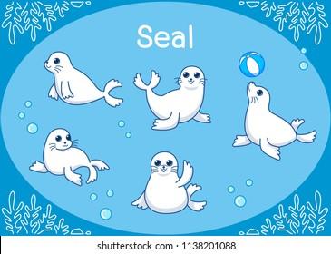 Cute Seal animal Cartoon setIllustration of aquarium isolated on a white background.