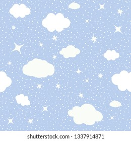 Cute seamless baby pattern of cloud,the stars, the moon. Vector illustration.