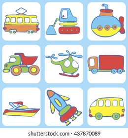 Cute seamless baby pattern. Set of  transport for children: a boat,  rocket, truck, excavator, Submarine, tram, helicopter. Hand drawn vector illustration.