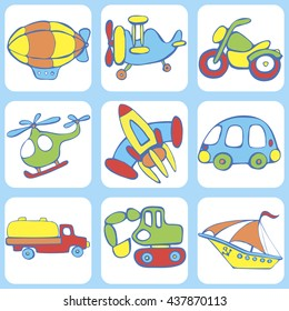 Cute seamless baby pattern. Set of  transport for children: a boat,  rocket,  excavator, motorbike, aircraft , helicopter. Hand drawn vector illustration.