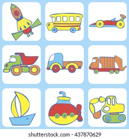 Cute seamless baby pattern. Set of  transport for children: a school bus, airship, boat,  rocket, truck, garbage truck, fireball, excavator, Submarine. Hand drawn vector illustration.