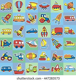 Cute seamless baby pattern. Set of transport for children. Hand drawn vector illustration.