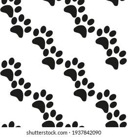 Cute seamless background. Cartoon paw for wallpaper design. Cartoon Modern design. Seamless fabric texture